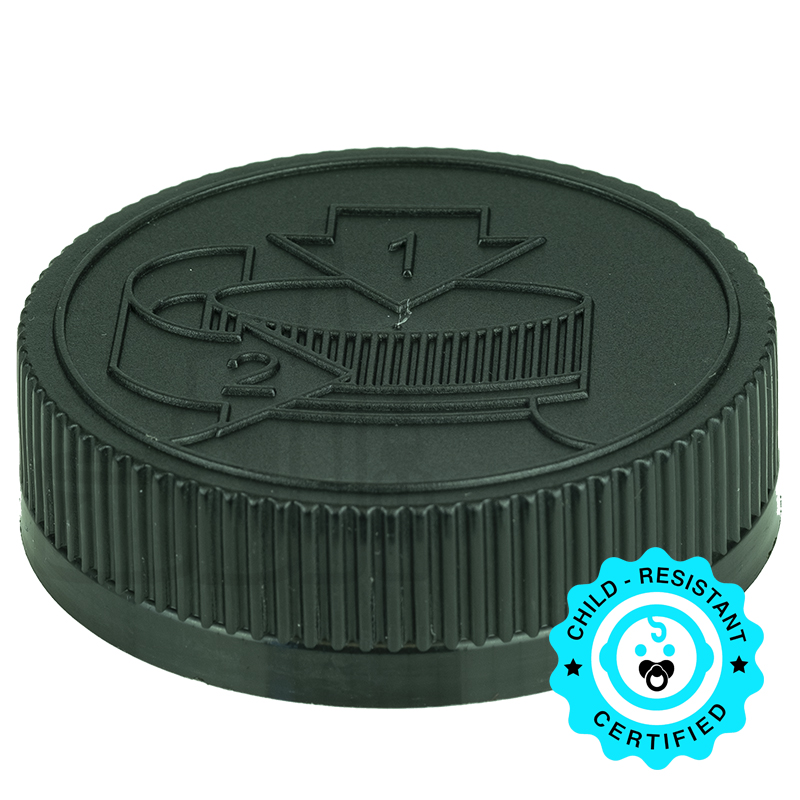 Black CRC (Child Resistant Closure) Cap 53-400 Universal HIS Liner HS035.020(750/cs)