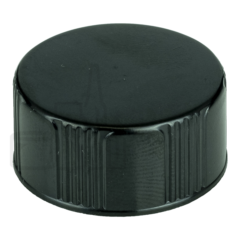Black CT Closure Phenolic Lid Ribbed/Smooth w/ Polycone Liner 20-400