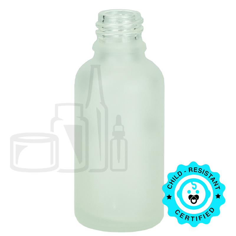 30ml Frosted Clear Euro Round Glass Bottle 18-415