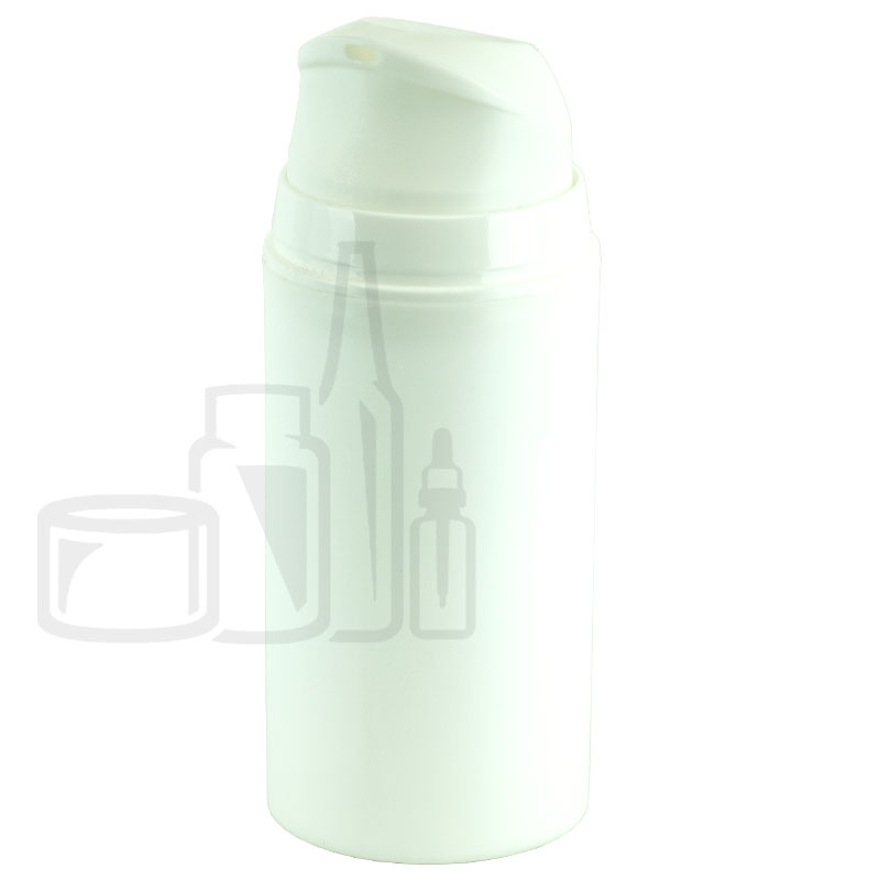 100ml White Airless Pump Bottle with Clear Cap