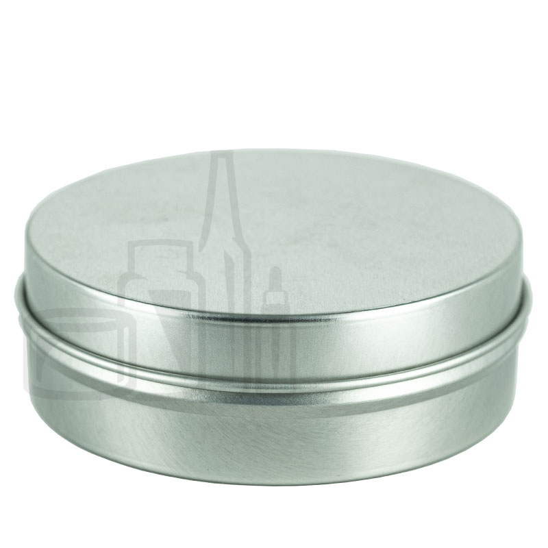 4oz Silver Steel Flat Tin with Slip Cover Lid(288/cs)