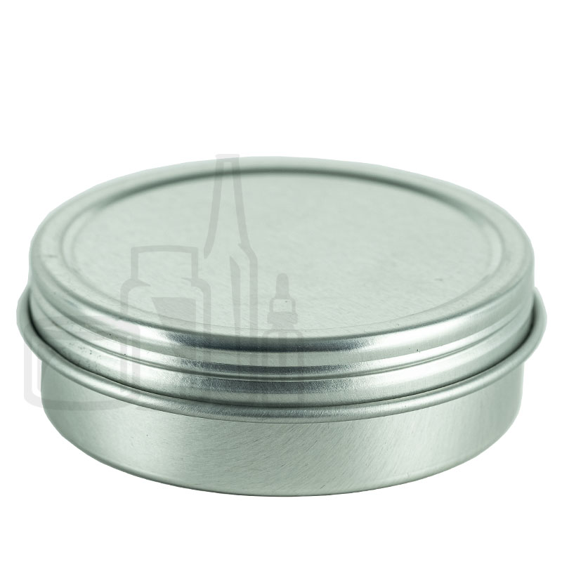 2oz Silver Steel Flat Tin with Screw-Top Lid(864/cs)