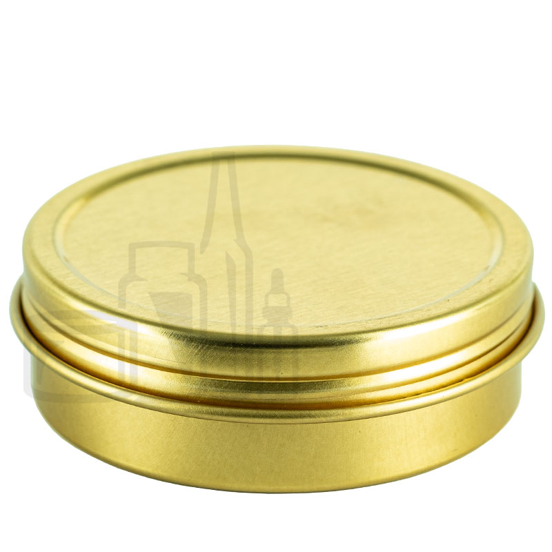 2oz Gold Steel Flat Tin with Screw-Top Lid(864/cs)