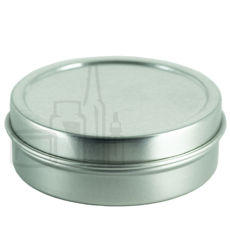 2oz Silver Steel Flat Tin with Slip Cover Lid(432/cs)