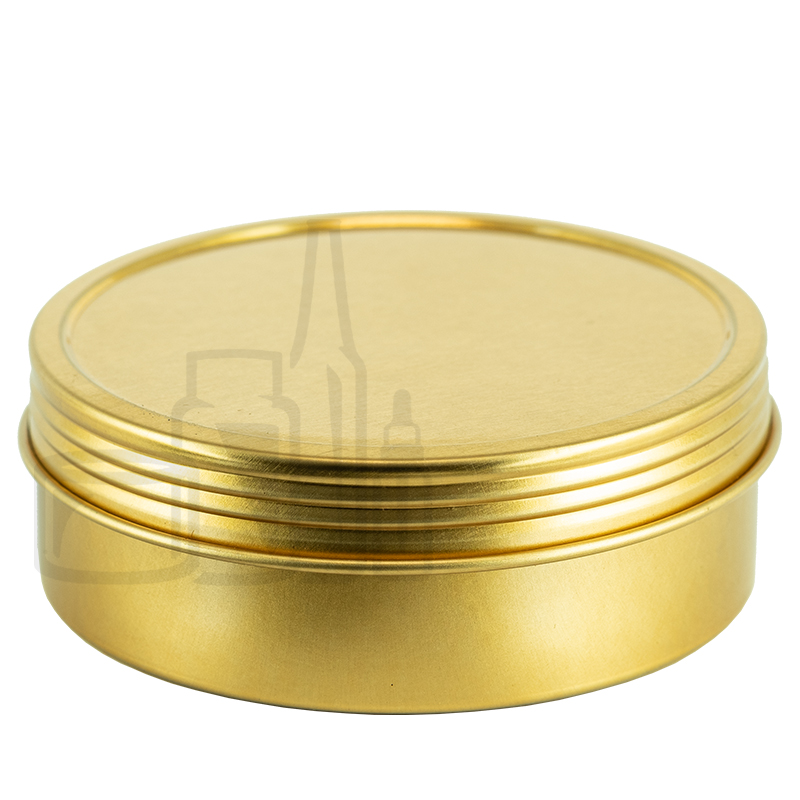 4oz Gold Steel Flat Tin with Screw-Top Lid(432/cs)