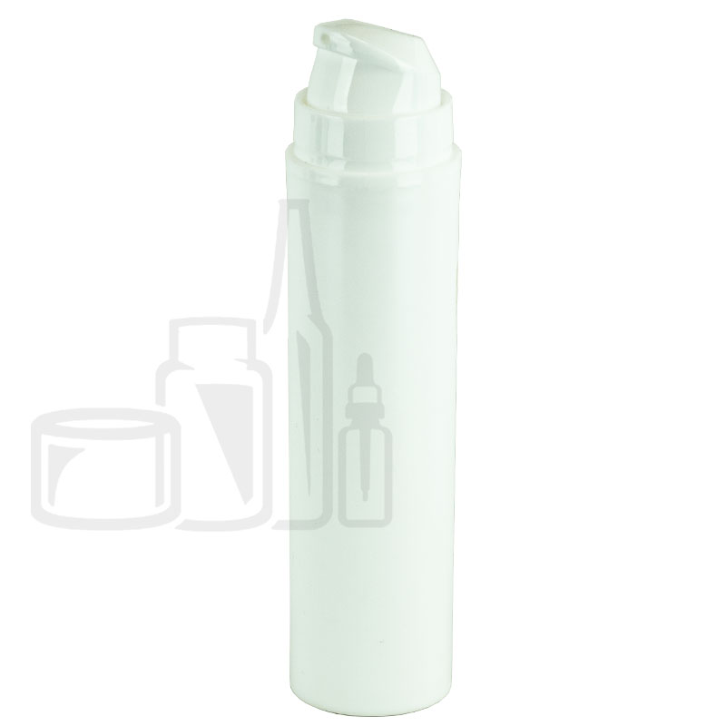 50ml White Airless Pump Slim Bottle with White Cap