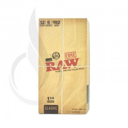 RAW Unrefined Pre-Roll Cone 1 1/4 32/6PK