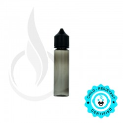 V3 - 60ML PET CHUBBY GORILLA TRANSPARENT BLACK BOTTLE W/ CRC/TE SOLID BLACK CAP
