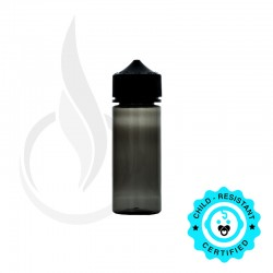 V3 - 120ML PET CHUBBY GORILLA W/ CRC/TE TRANSPARENT BLACK BOTTLE WITH SOLID BLACK CAP