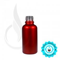 30ml Shiny Red Euro Round Glass Bottle 18-415