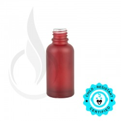 30ml Frosted Red Euro Round Glass Bottle 18-415