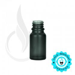 10ml Matte Black Euro Round Glass Bottle 18-415